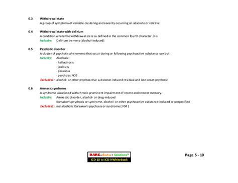 Etoh Detox Icd 10 by R D S Icd 10 Cm To Icd 9 Cm Cross Reference Whitebook