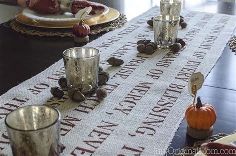 come to the table hymn quot come thou fount quot stenciled burlap table runner