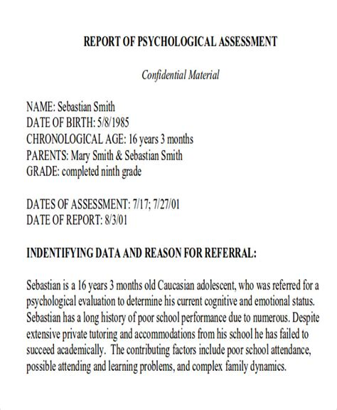 School Psychologist Report Template