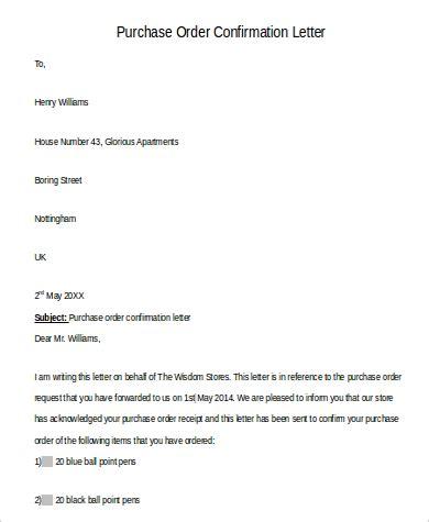 Purchase Order Confirmation Letter order letter purchase order letter purchase order 11 jpg
