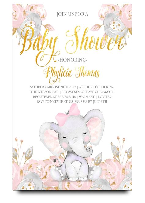 Baby Shower Invitations Elephant by Pink Elephant Baby Shower Invitation Pink Elephant