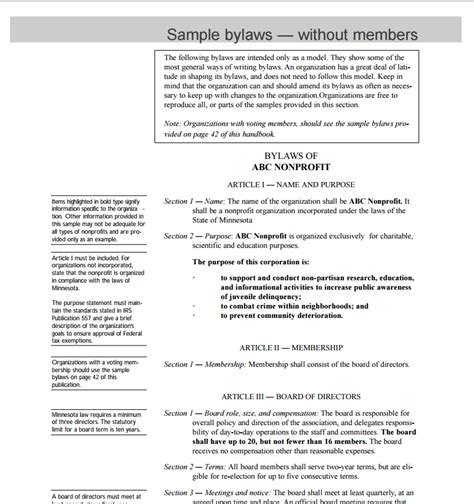 bylaws for nonprofit organizations template non profit bylaws template free word templates