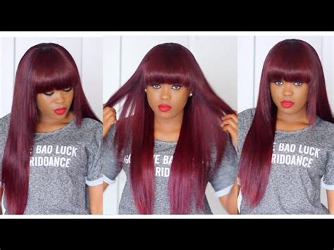 diy perfect bob diy cherry plum full bang wig perfect fall hairstyle