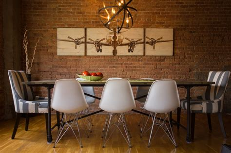 rustic modern dining room  chicago industrial loft industrial dining room chicago
