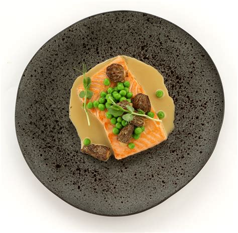 poached salmon poached salmon with peas and morel mushrooms saltwater