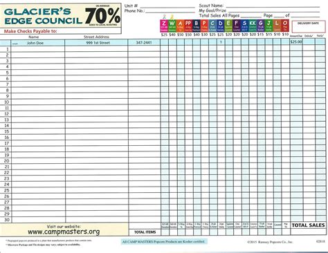 scout order form template boy scout popcorn order form 2015