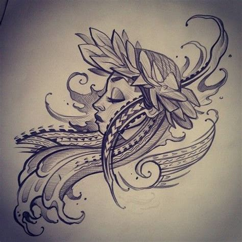 island flower tattoo designs polynesian hawaiian sketch draftmatic