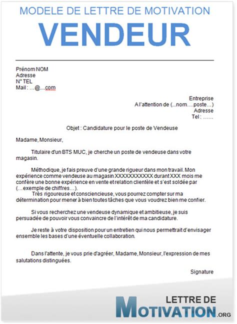 Vendeuse Lettre De Motivation Lettre De Motivation Gratuite Vendeuse