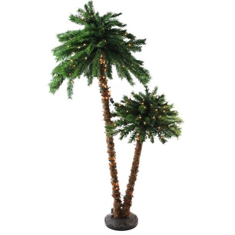 home and gardens prelit trees northlight 6 ft pre lit tropical palm tree artificial tree and clear lights 31742041