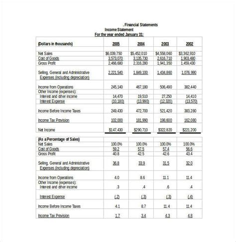 financial template word financial statement template 27 free pdf excel word