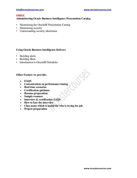 obiee 11g resume resume ideas