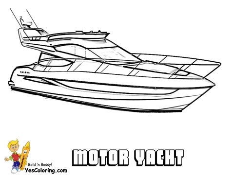 boat drawing prints super yacht ship coloring pages motor boats free yachts