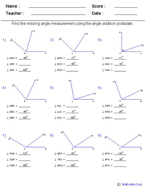 angle addition worksheet equation practice with angle geometry worksheets angles worksheets for practice and study