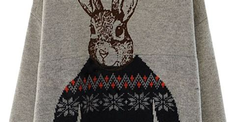 Jumper Shopholic a sweater with a bunny wearing a sweater yes