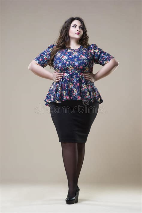 fat lady clothing makeover plus size fashion model in casual clothes fat woman on