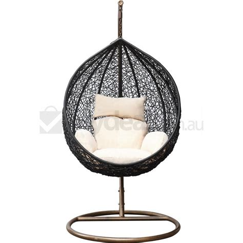 rattan wicker outdoor hanging egg chair in black buy