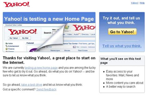 yahoo page layout yahoo testing new home page layout techcrunch