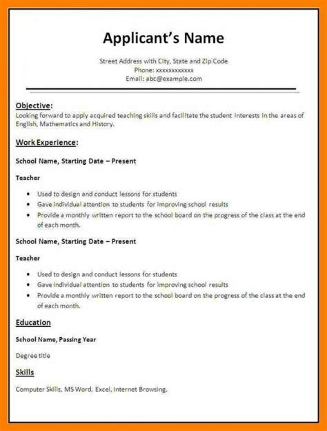 Resume Format Word Files by Simple Resume Format In Word File Resume Template Sle