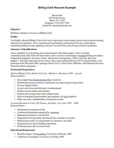 billing clerk resume billing clerk resume sle resumes design