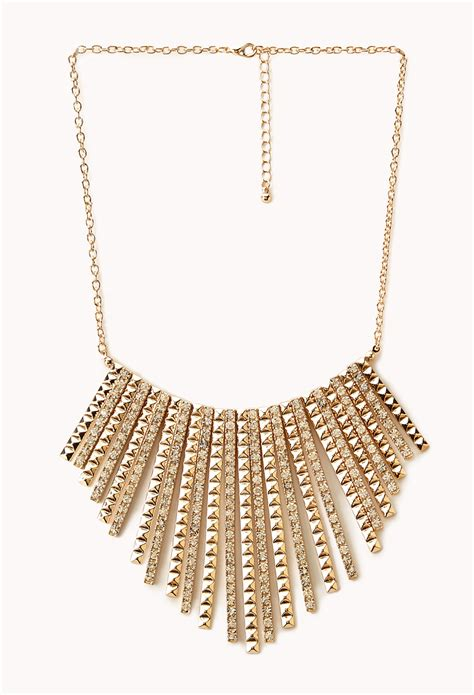 forever 21 dazzling fringe bib necklace in metallic lyst