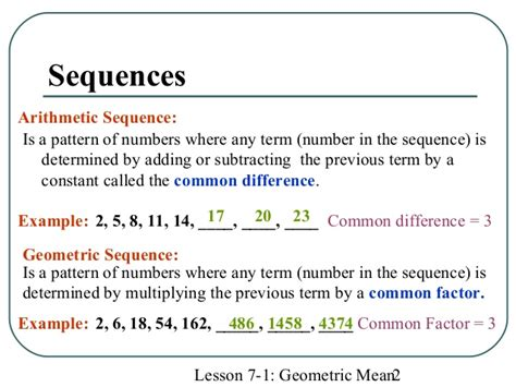 pattern sequence meaning math geometric mean