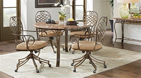 Dining Room Chairs Casters Alegra Metal 5 Pc Round Dining Set With Stone Top Dining