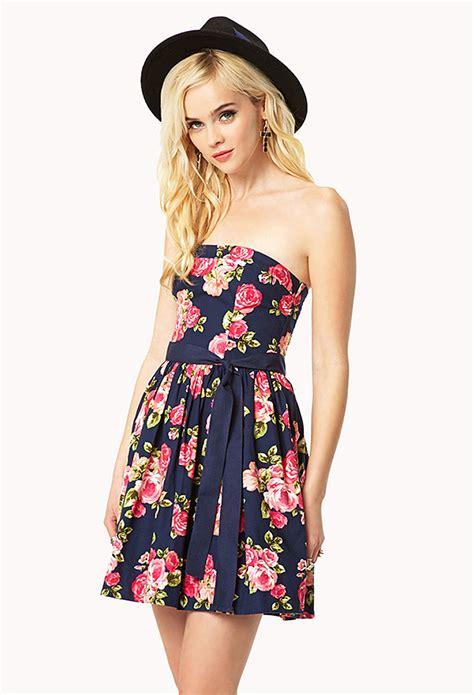 Dress Forever 21 lyst forever 21 rosebud strapless dress in blue