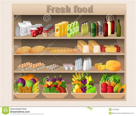Food That Has A Shelf by Supermarket Shelves Food And Drinks Stock Vector Image