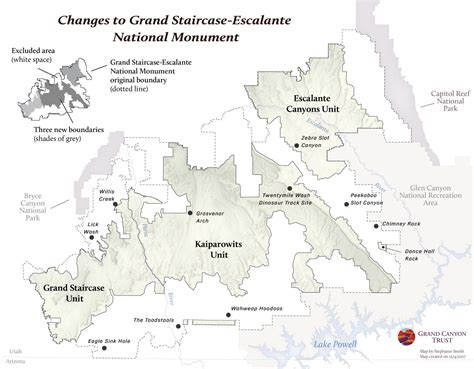 national monuments map changes to grand staircase escalante national monument map