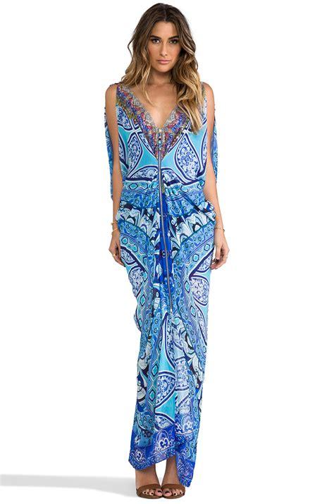 camilla bat sleeve mini dress artesania in blue lyst