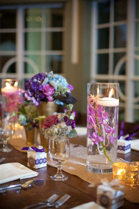 hydrangea  floating candle centerpiece