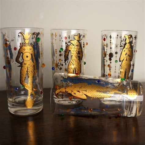 culver barware vintage culver glassware mardi gras pattern 22k gold