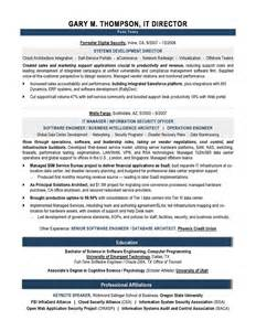 professional it director resume sle recentresumes