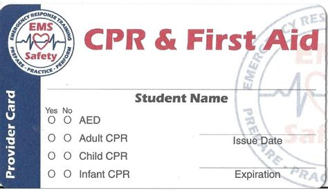 Santa Cruz Cpr First Aid Aed Training Free Cpr Card Template