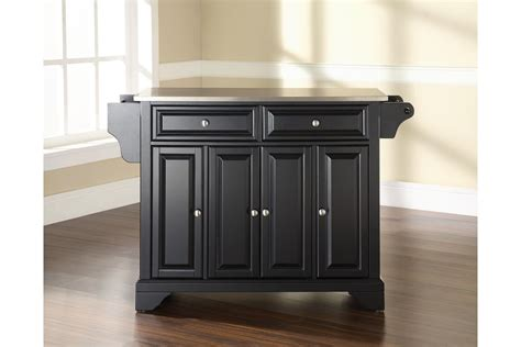 lafayette stainless steel top kitchen island in black finish by crosley