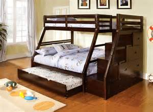 Wooden Bunk Beds With Trundle Youth Wood Espresso Storage Stairway