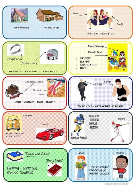 comparative conversation cards worksheet free esl
