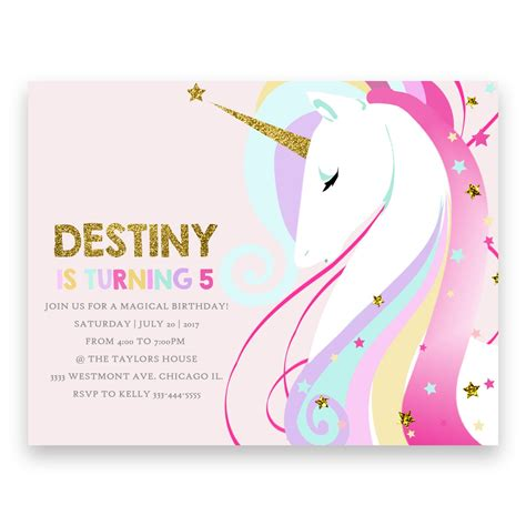 unicorn birthday card template birthday invitation unicorn image collections invitation