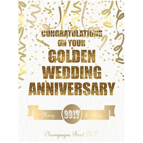 50th golden wedding anniversary chagne by bottle bazaar notonthehighstreet com