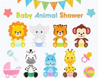 Baby Safari Animals Baby Shower by Baby Animals Clipart Etsy