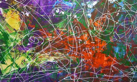 modern drawings purple and green original painting called sixes and