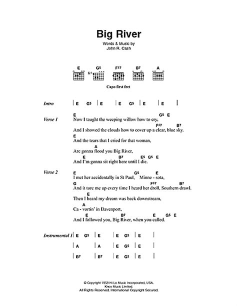 pattern is movement river lyrics big river sheet music by johnny cash lyrics chords 46279