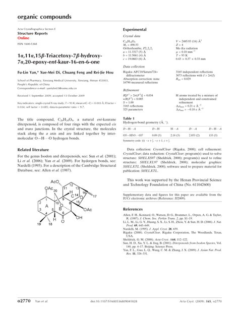 acta crystallographica section e structure reports online impact factor 1 11 15β triacet oxy 7β hydroxy 7 20 ep oxy ent kaur 16 en