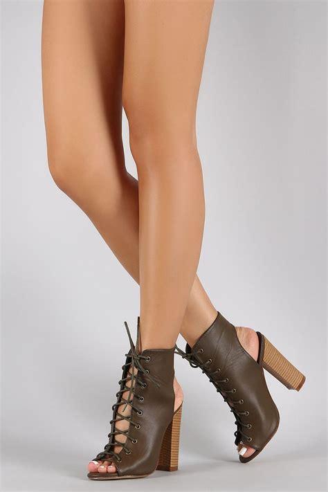 Laced Up Open Toe Chunky High Heels Import 1 chunky heel peep toe heels zone