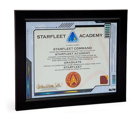 printable starfleet academy diploma starfleet academy graduate framed certificate