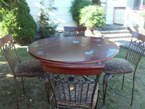 Table Marysville by Wrought Iron Pub Table With Chairs Cherry Wood Table And