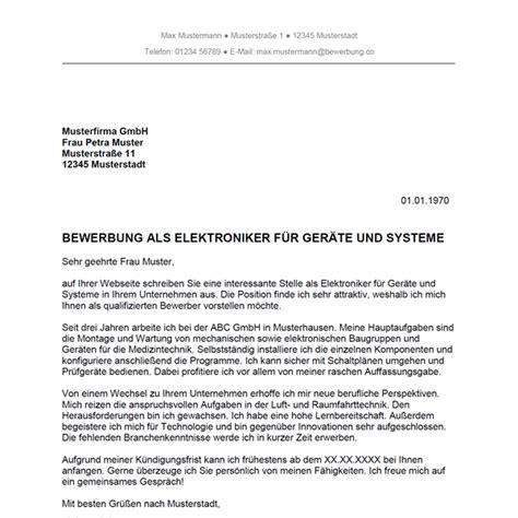 Bewerbungsschreiben Ausbildung Elektriker Bewerbung Als Elektroniker F 252 R Ger 228 Te Und Systeme Elektronikerin F 252 R Ger 228 Te Und Systeme