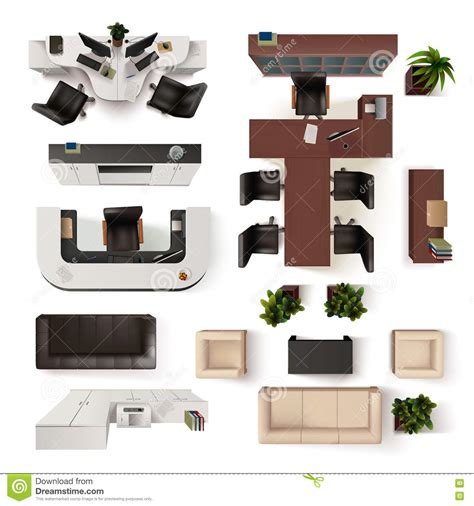 Interior Elements by Office Interior Elements Top View Set Stock Vector Image