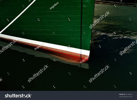 lobster boat docking red white green wooden bow on stock photo 92739943