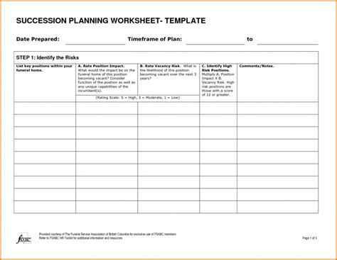 employee succession planning template plan succession planning template